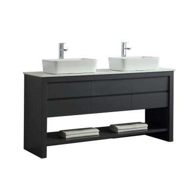 Laura 60 in. W x 22 in. D Vanity in Dark Charcoal with Marble Vanity Top in White with White Basins
