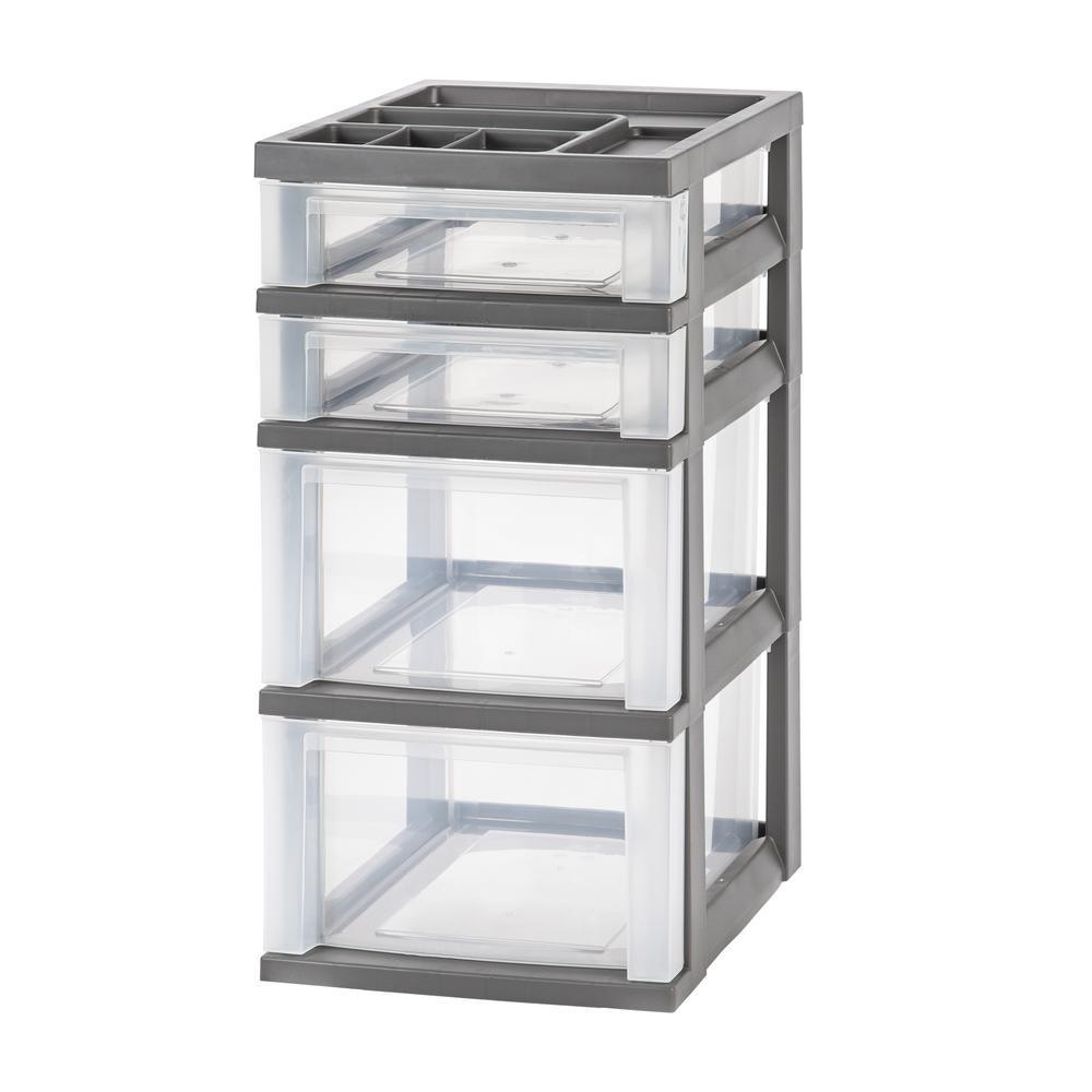 Merveilleux Gray 3 Drawer Storage Cart With Organizer