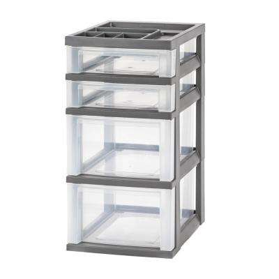 12.05 in. x 24.5 in. Gray 3-Drawer Storage Cart with Organizer Top