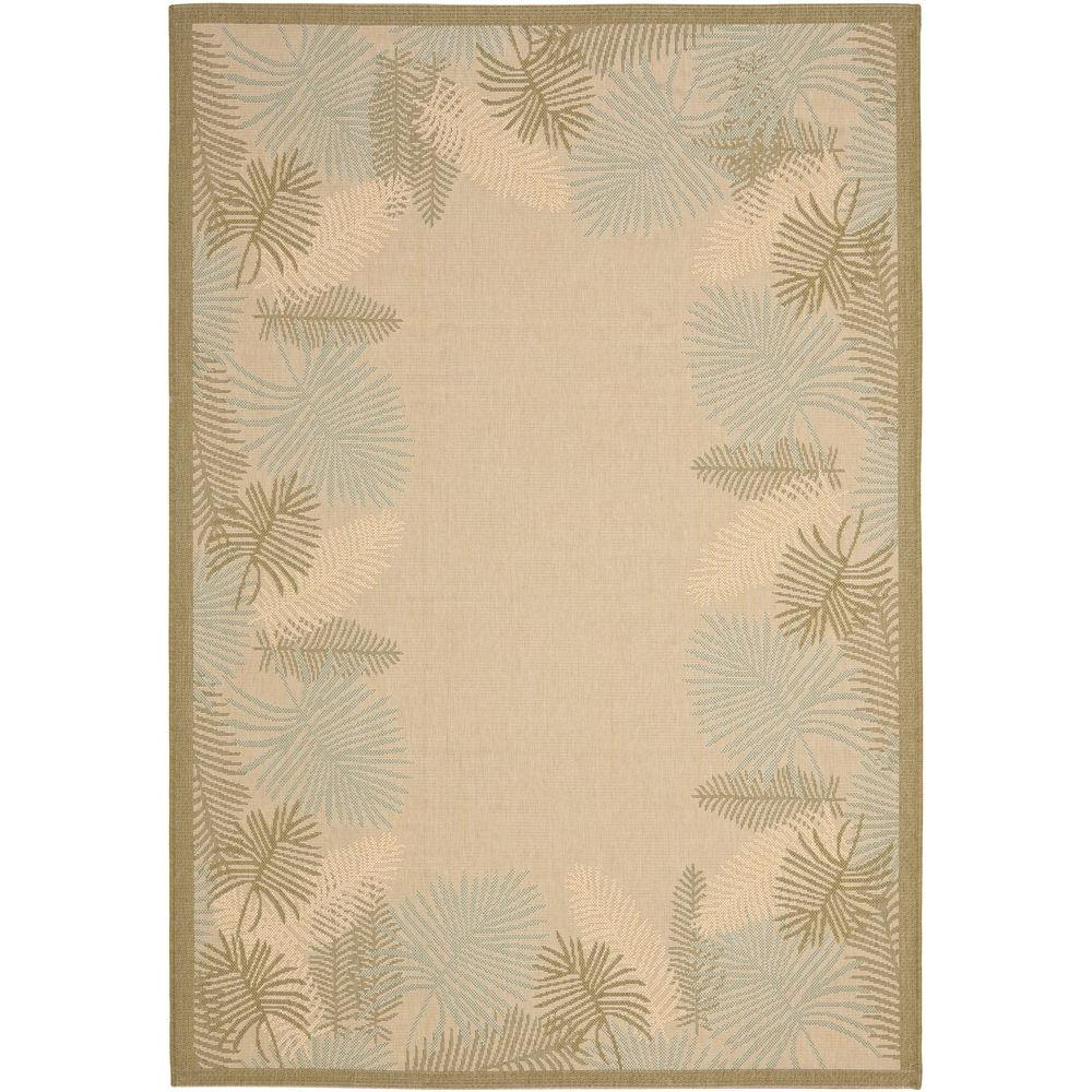 Courtyard Cream/Green 6 ft. 7 in. x 9 ft. 6 in.