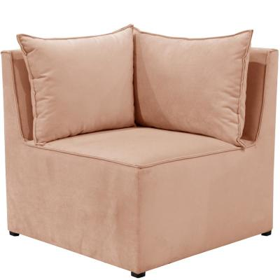 Newvelvet Soft Pink French Seamed Sectional Corner Chair By Skyline Furniture
