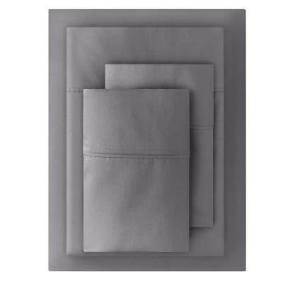 400 Thread Count Performance Cotton Sateen 4-Piece King Sheet Set in Charcoal