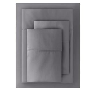 400 Thread Count Performance Cotton Sateen 4-Piece Queen Sheet Set in Charcoal