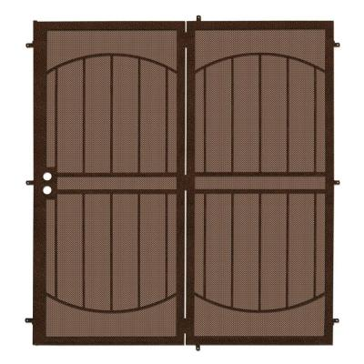 72 in. x 80 in. Arcada Copper Projection Mount Outswing Steel Patio Security Door with Expanded Metal Screen
