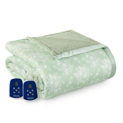 Reverse to Sherpa Queen Toile Celadon Electric Heated Blanket
