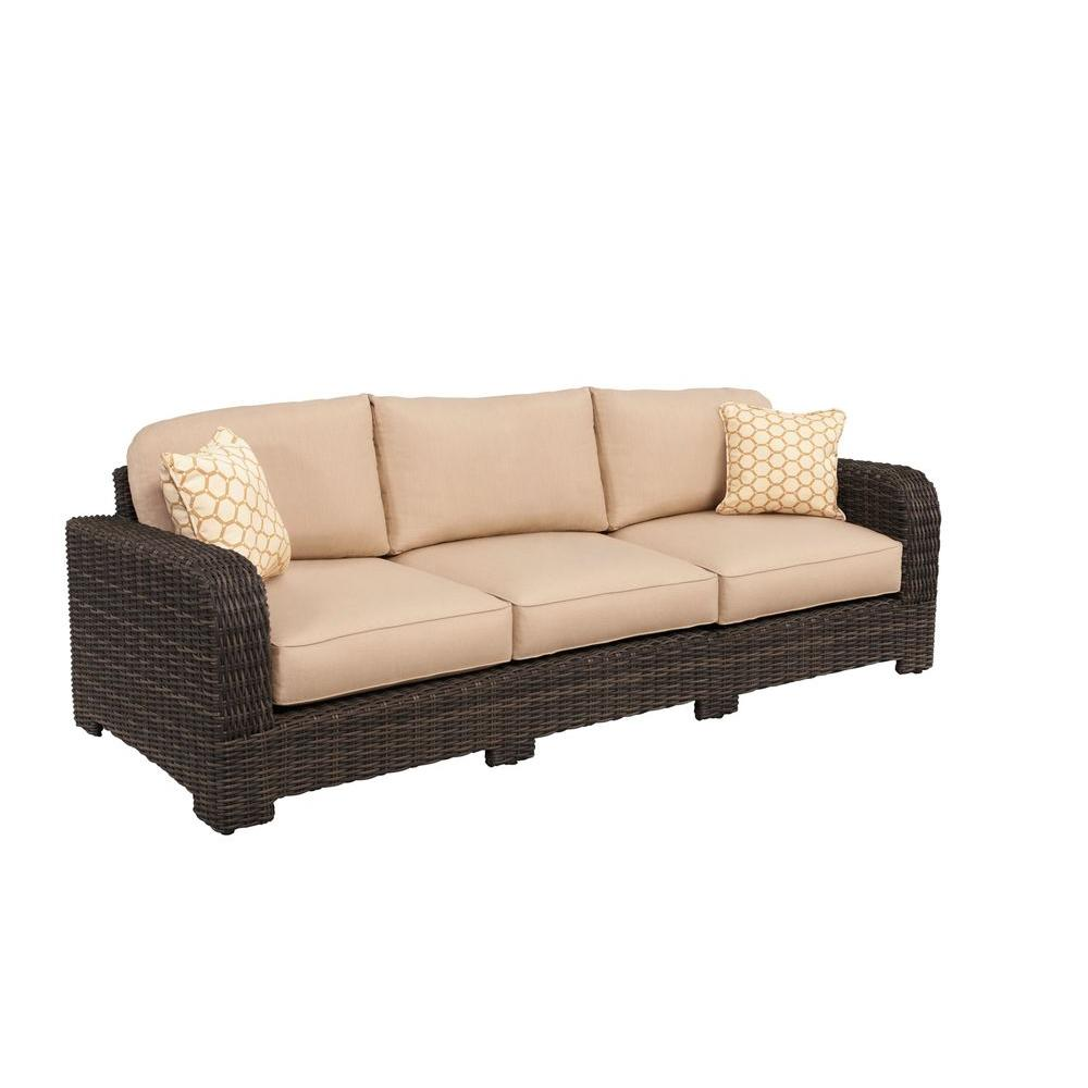 Brown Jordan Northshore Patio Sofa with Harvest Cushions and Tessa Barley Throw Pillows -- CUSTOM