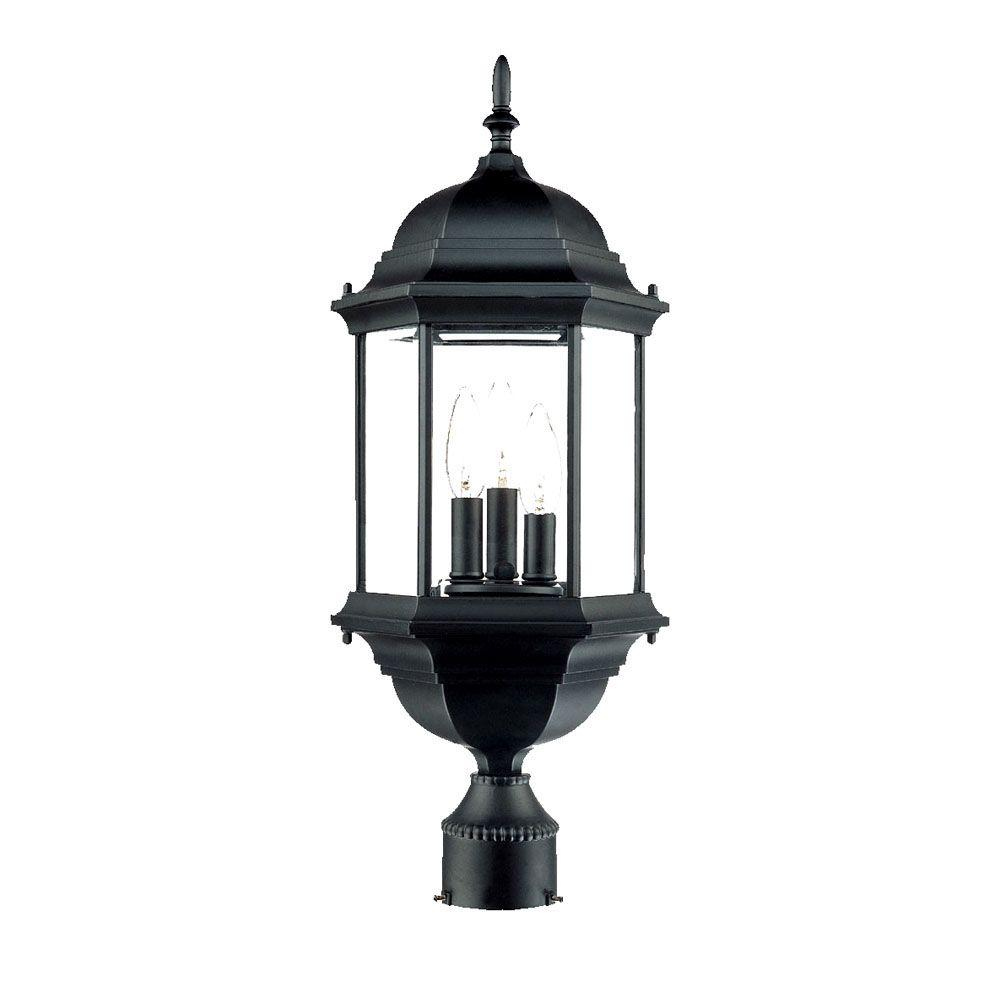 Madison 3 Light Matte Black Outdoor Post Mount Fixture
