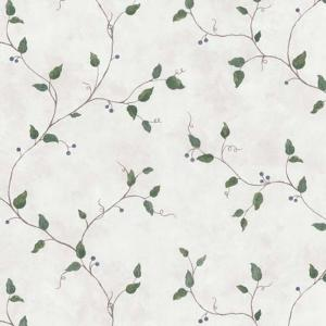 Northwoods Lodge Off-White Berry Trail Wallpaper Sample