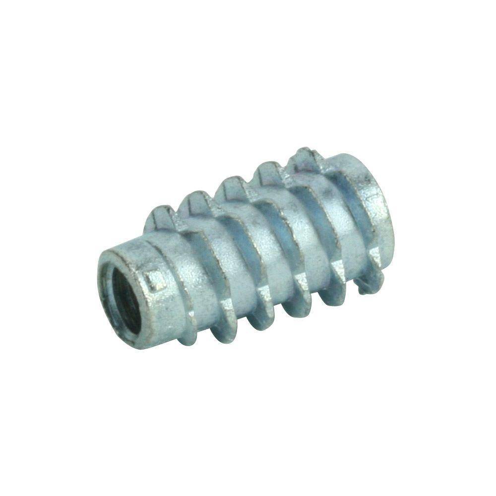 1/4 in. - 20 tpi x 20 mm Zinc-Plated Screw in Type E Insert Nut (4-Pack)