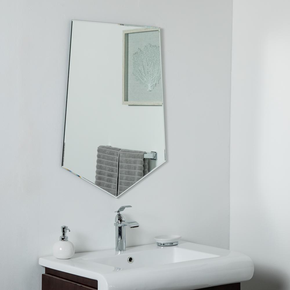 Decor Wonderland 31 5 In X 23 6 Novelty Penta Frameless Bathroom And Wall Mirror With Beveled Edge
