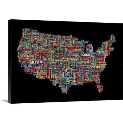 """United States Cities Text Map, Multicolor on Black"" by Michael Tompsett Canvas Wall Art"