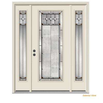 66 in. x 80 in. Full Lite Mission Prairie Primed Steel Prehung Right-Hand Inswing Front Door with Sidelites