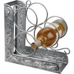 Old Dutch 10.25 in. x 4.75 in. x 10.25 in. Ant. Emb. Victoria 3-Bottle Wine Rack Bookend