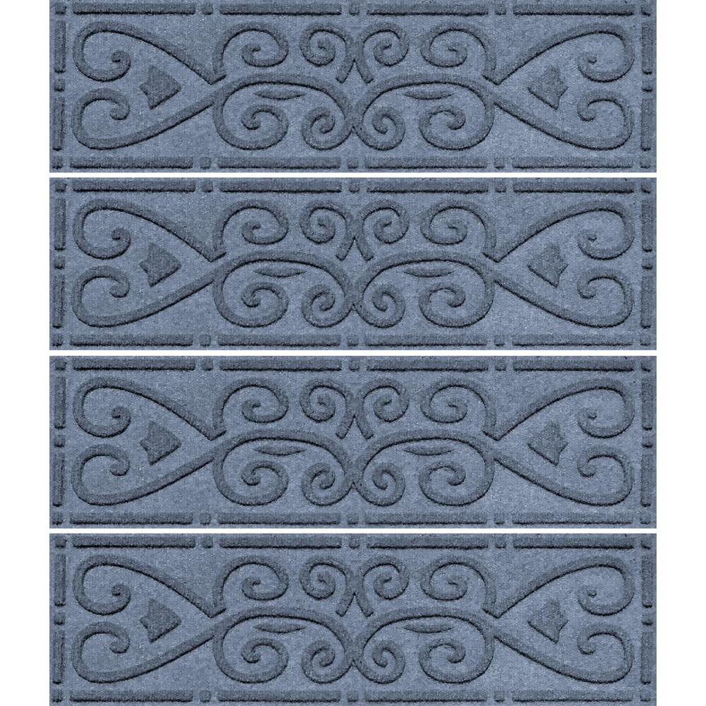 Aqua Shield Bluestone 8.5 In. X 30 In. Scroll Stair Tread Cover (Set Of  4) 2026581   The Home Depot