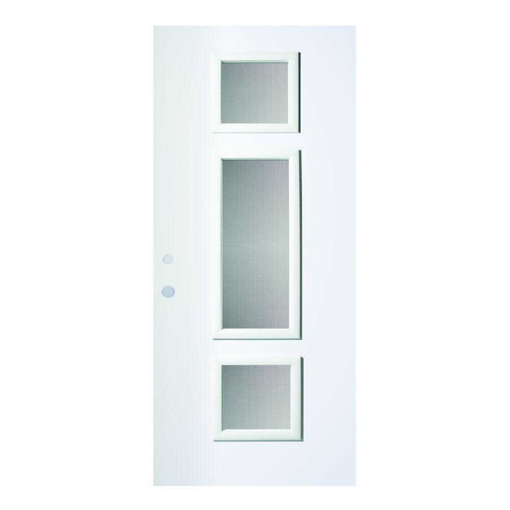 Stanley Doors 32 in. x 80 in. Marjorie Screen 3 Lite Painted White Right-Hand Inswing Steel Prehung Front Door