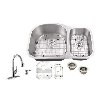 Undermount 32 in. 18-Gauge Stainless Steel Kitchen Sink in Brushed Stainless with Gooseneck Faucet