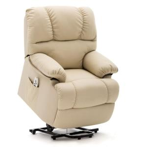 Beige Abert Reclining Heated Full Body Massage Chair with Ottoman