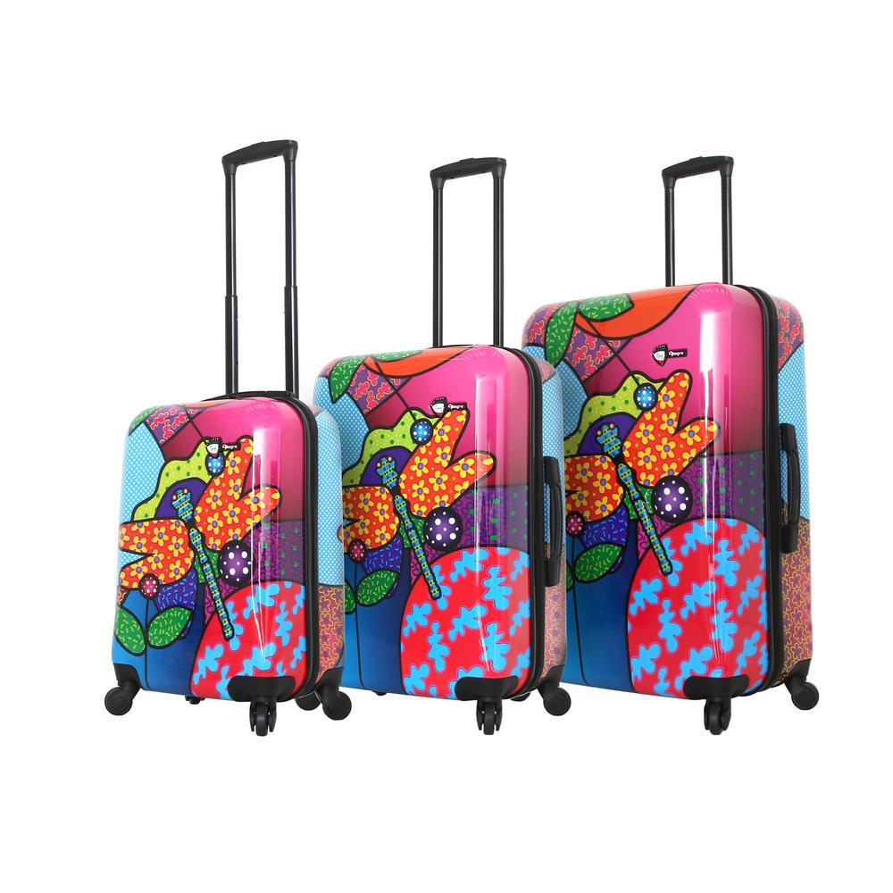 Mia Toro Allegra 3-Piece Pop Dragonfly Spinner Luggage Set M1345-03PC-PDRNN