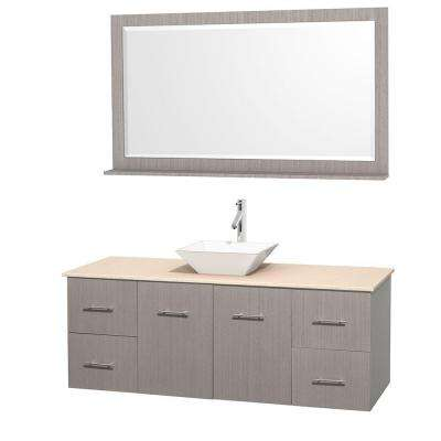 Centra 60 in. Vanity in Gray Oak with Marble Vanity Top in Ivory, Porcelain Sink and 58 in. Mirror