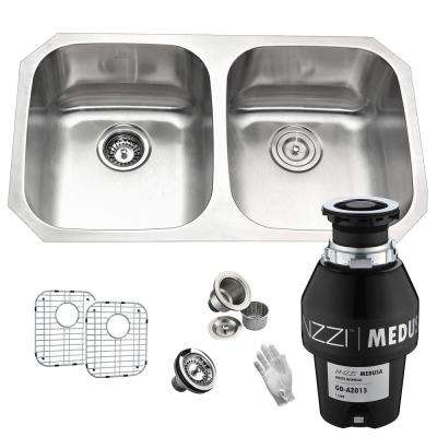 Moore Undermount Stainless Steel 32 in. 50/50 Double Bowl Kitchen Sink with Medusa Series 1/3 HP Garbage Disposal