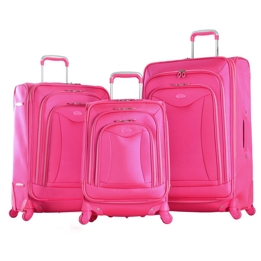 Luxe 3-Piece Expandable EVA Spinner Set, Pink