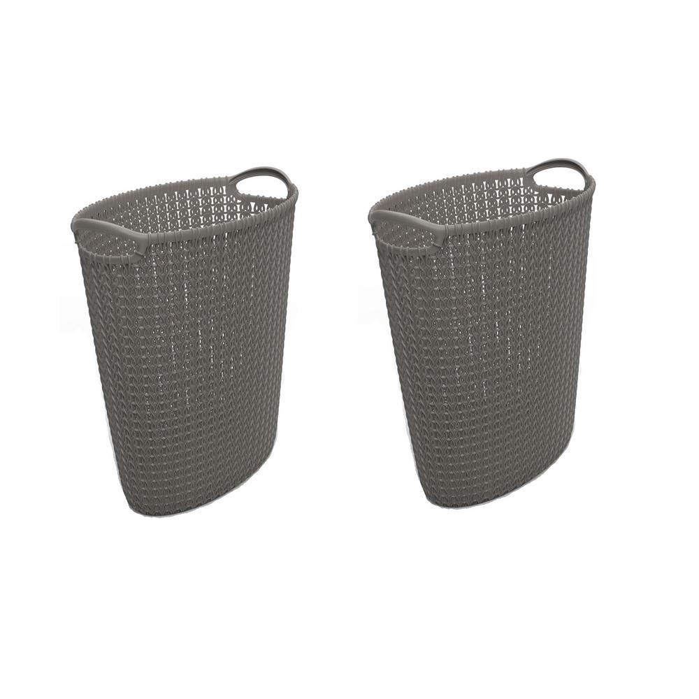 3.2 Gal. Grey Knit Oval Waste Basket (2-Pack)