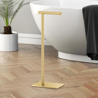 Latitude II Square Freestanding Toilet Paper Holder in Brushed Brass