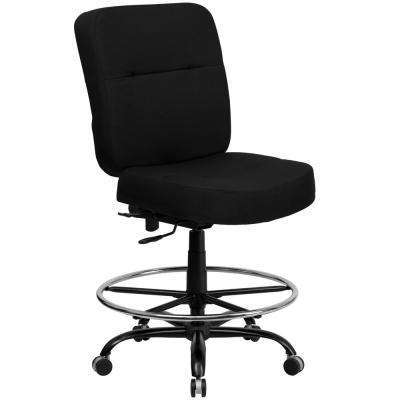 Big and Tall 400 lb. Rated High Back Black Fabric Ergonomic Drafting Chair with Rectangular Back