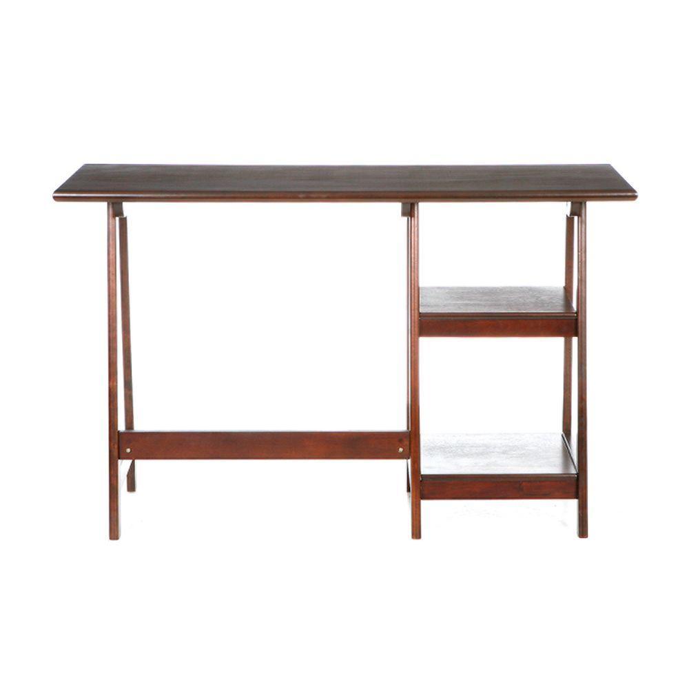 Beatrix Espresso Desk with Shelving