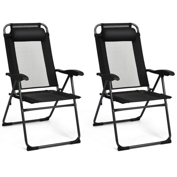 Black Adjustable Folding Metal Outdoor Recliner Chairs (2-Pack)