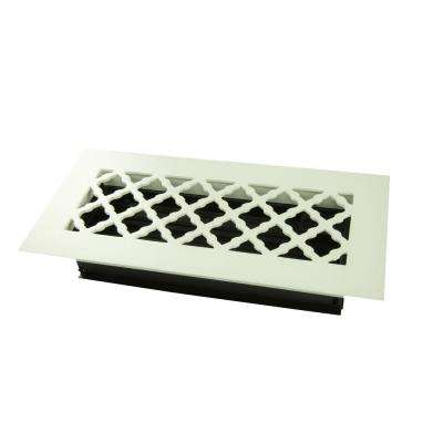 Tuscan 10 in. x 4 in. Steel Floor Register, White/Powder Coat with Opposed Blade Damper