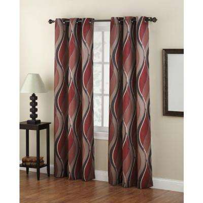 Semi-Opaque No. 918 Casual Intersect Paprika Printed Grommet Top Curtain Panel (Price Varies by Size)