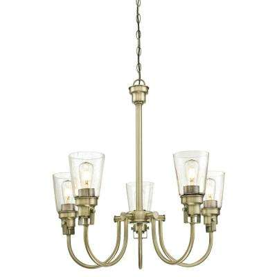 Ashton 5-Light Antique Brass Chandelier with Clear Seeded Glass Shades