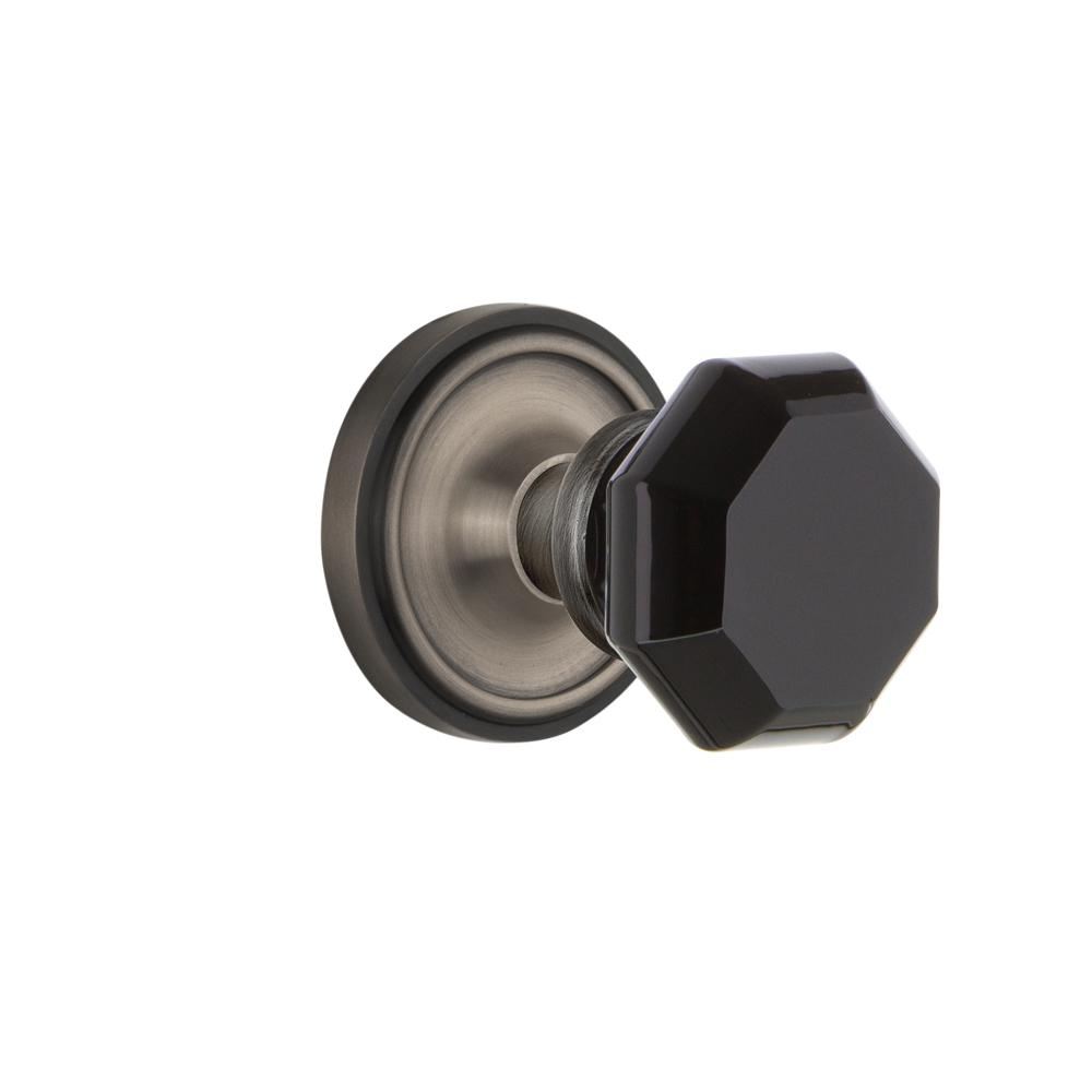 Classic Rosette Double Dummy Waldorf Black Door Knob in Antique Pewter