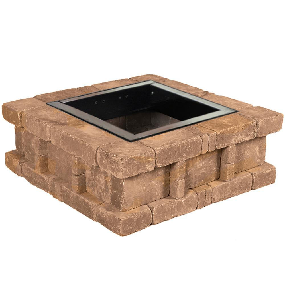RumbleStone 38.5 in. x 14 in. Square Concrete Fire Pit Kit No. 2 in Sierra Blend