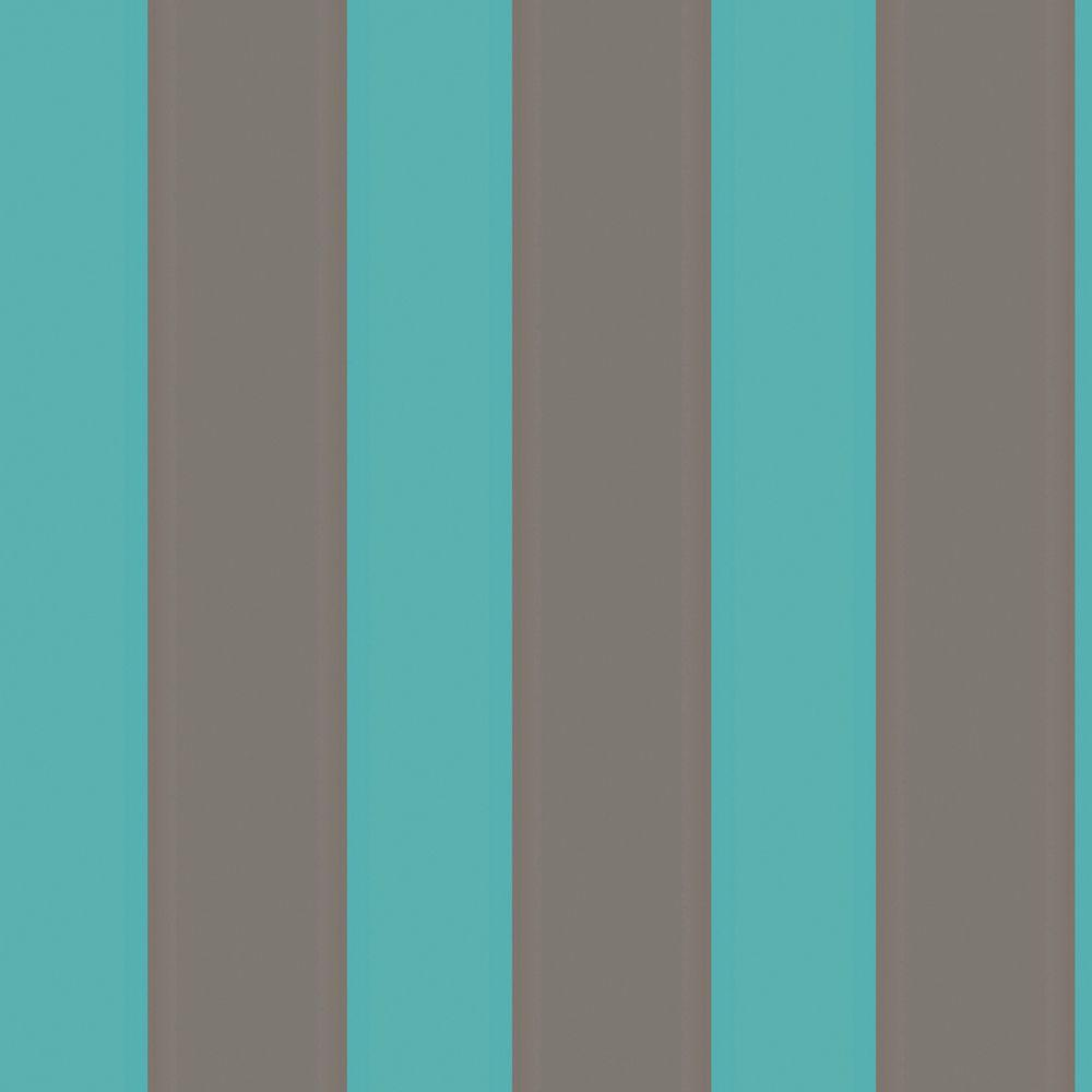The Wallpaper Company 8 in. x 10 in. Aqua and Mocha Large Scale Stripe Wallpaper Sample