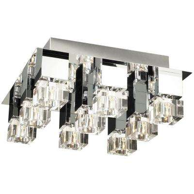 9-Light Ceiling Polished Chrome Flush Mount with Clear Glass