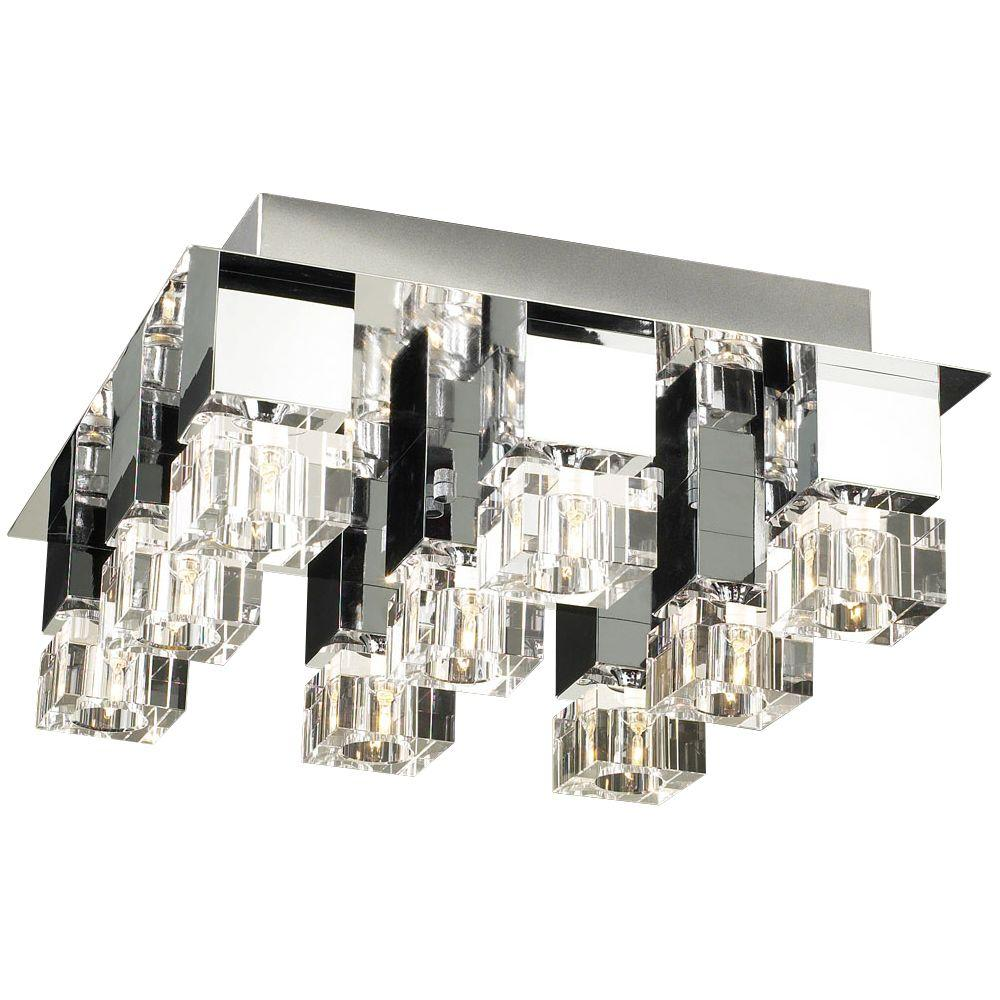 PLC Lighting 9-Light Ceiling Polished Chrome Flush Mount with Clear Glass
