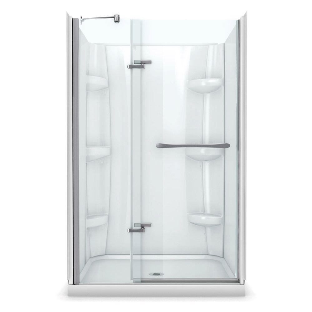 Reveal 36 in. x 48 in. x 76.5 in. Center Drain Alcove Shower Kit in White with Frameless Pivot Shower Door in Chrome