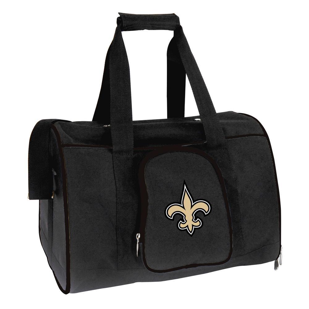 NFL New Orleans Saints Pet Carrier Premium 16 in. Bag in Black