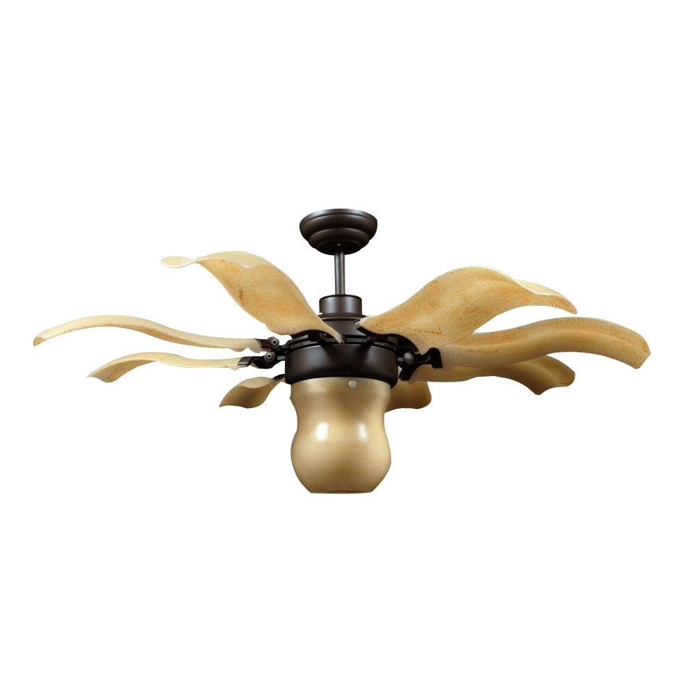 Vento Fiore 42 in. Indoor Roman Bronze Retractable Ceiling Fan with ...