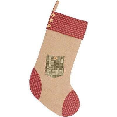 20 in. Cotton and Jute Green Dolly Star Primitive Christmas Decor Pocket Stocking