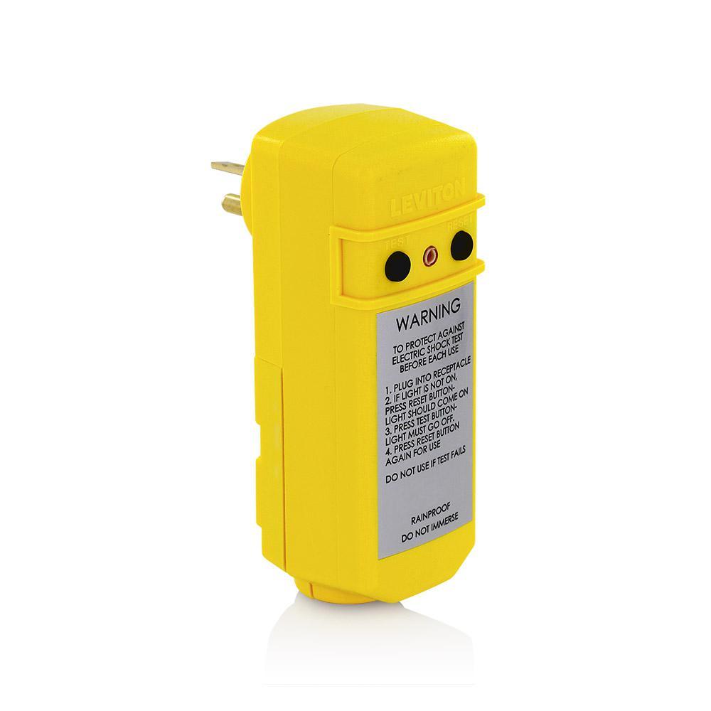 Leviton 20 Amp 120-volt Right Angle Grounding Gfci Plug  Yellow-16794