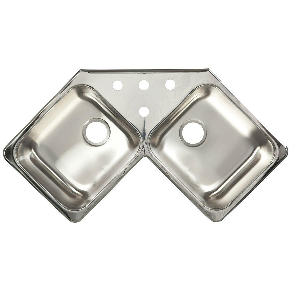 Kitchen Corner Sink: KINDRED 20-Gauge Drop-In Stainless Steel 43.43 In. 4-Hole