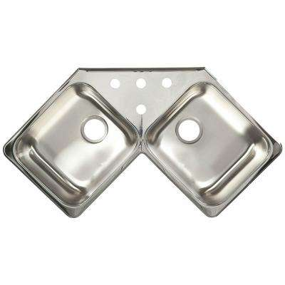20-Gauge Drop-In Stainless Steel 43.43 in. 4-Hole Corner Double Bowl Kitchen Sink