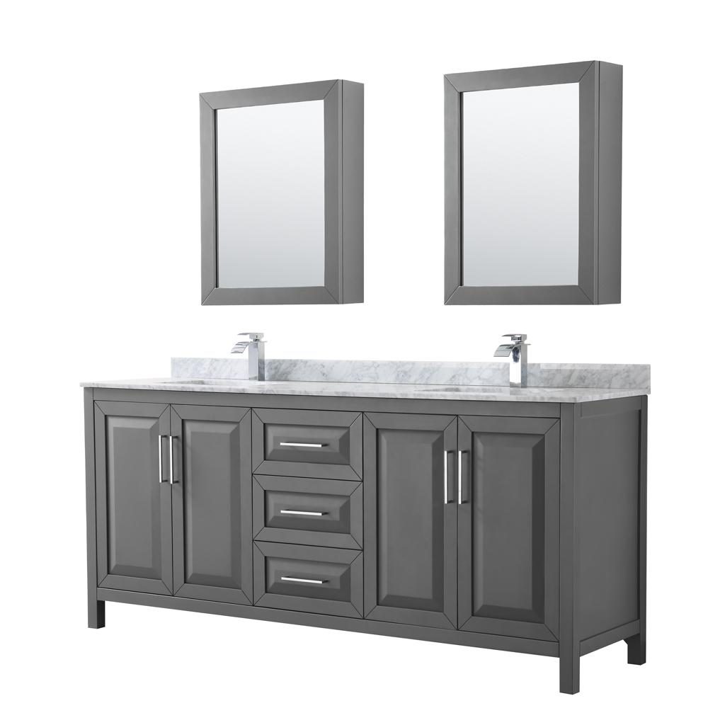 Wyndham Collection Daria 80 In Double Bathroom Vanity Dark Gray With Marble Top