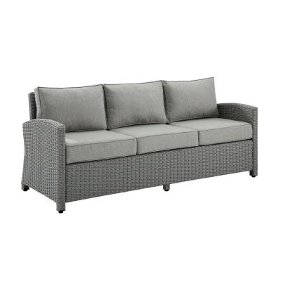 Bradenton Gray Wicker Outdoor Couch with Gray Cushions