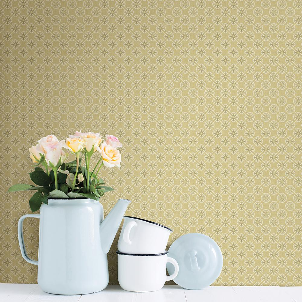 Chesapeake Crosby Yellow Floral Wallpaper 3112 002743 The Home Depot