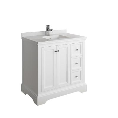 Windsor 36 in. W Traditional Bathroom Vanity in Matte White with Quartz Stone Vanity Top in White with White Basin