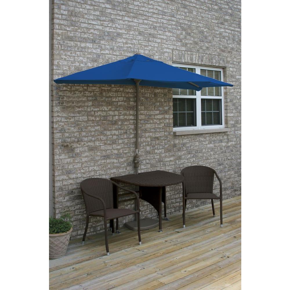 Blue Star Group Terrace Mates Genevieve 5-Piece Java Patio Bistro Set with 7.5 ft. Blue Olefin Half-Umbrella
